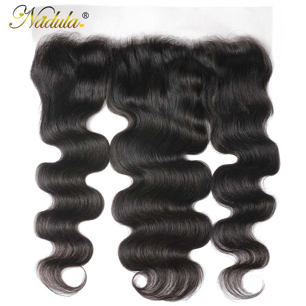 Nadula Hair Body Wave Lace Frontal 13x4 Medium Brown Lace Color Closures Body Wave Hair 4x4 Silk Base Frontal 1