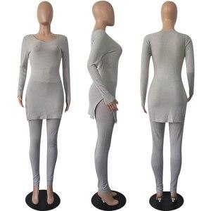 Image 5 - Gestrickte Anzug Zwei Stück Set Top Und Hosen Set Frauen Langarm Split Dünne Pullover 2 Stück Set Frauen Herbst winter Outfits