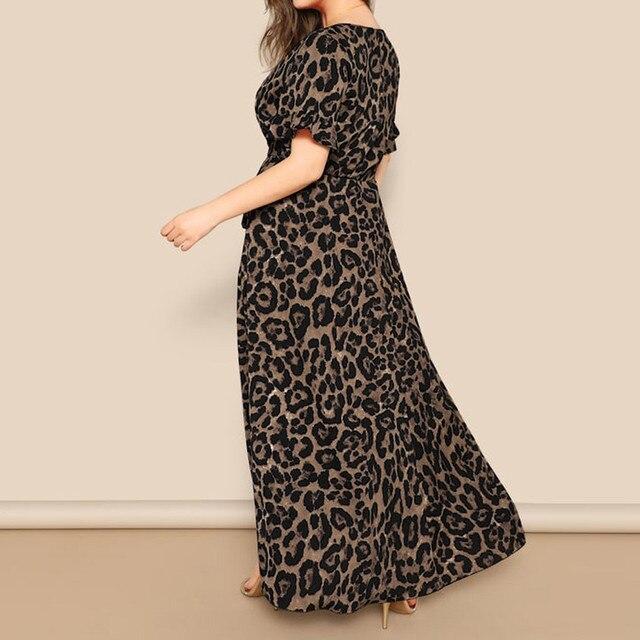 Plus sized v-neck long maxi dress, leopard print 2