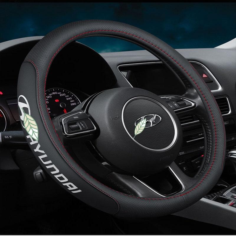 Car Logo Hanadmade Leather Stering Wheel Cover