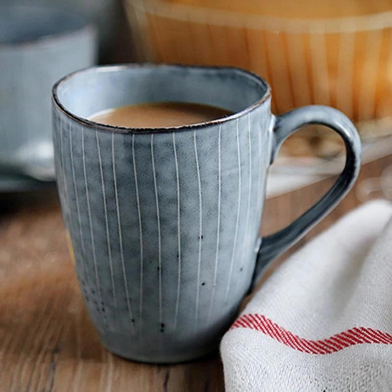 Vintage Coffee Mug Irregular Ceramic Mug Hand Painted Blue Coffee Cups Porcelain Milk Tea Mug Gift Office Cafe Drinkware 300ml Mugs Aliexpress