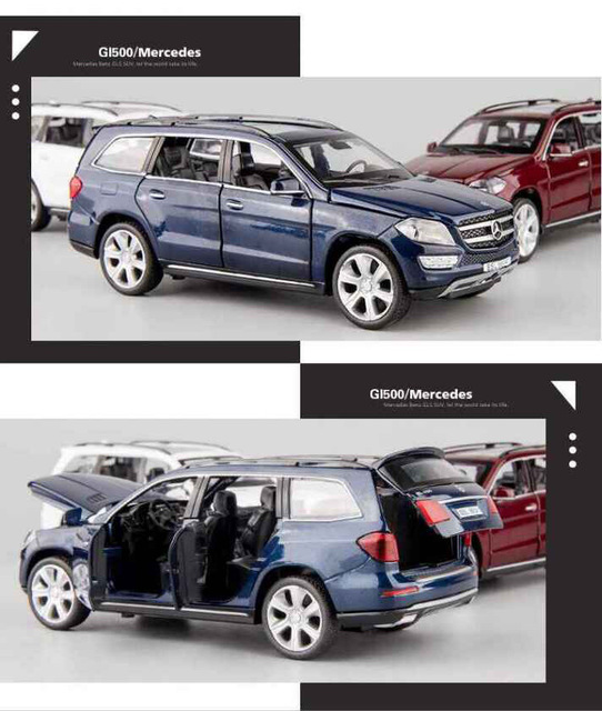 1:32 high simulation GL500 alloy car model children's toy car model decoration with Sound and light for children gifts