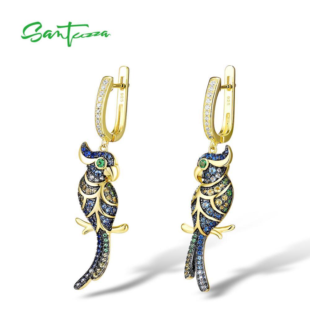 SANTUZZA Silver Earrings For Women 925 Sterling Silver Gold Color Sparkling Blue CZ Lovely Bird Drop Earrings Fine Jewelry