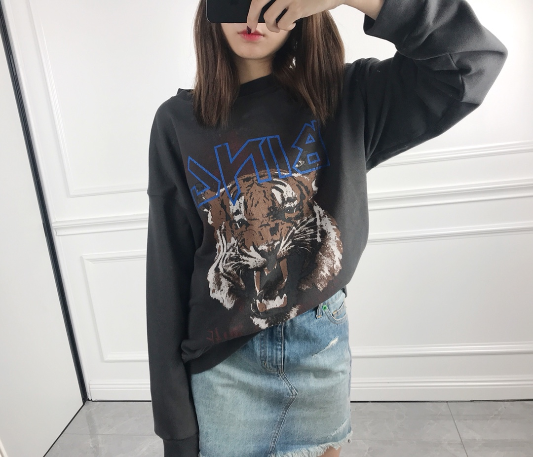 Loose Women's Hoodies & Sweathirts Casual Cotton O-neck Autumn Long Sleeve Tiger Head Printing Hooded Tops