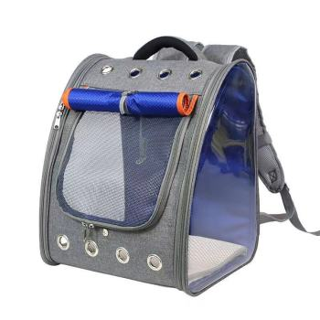 New Dog Bag Breathable Backpack Transparent PVC Cat Carrying Pet Bag Outdoor Travel Pet Carrier L