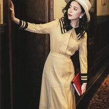 Винтажный офисный женский костюм великолепный матросский воротник с длинным рукавом Элегантный тонкий женский комплект из 2 предметов одежды