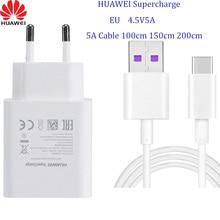 HUAWEI – chargeur rapide pour Mate 9 10 Pro P10 Plus, Supercharge, adaptateur mural de voyage, 4.5V 5A/5V4.5A, type c, câble USB 3.0, 1M