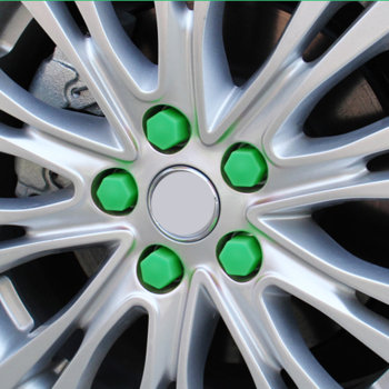 Green 20 Pcs 19mm Silicone Hollow Hexagonal Wheel Hub Screw Cover Car Styling Decoration Protecting image