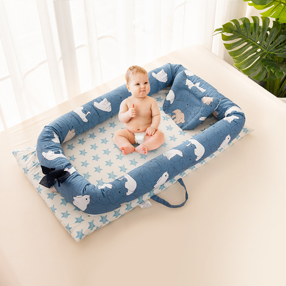 Baby Bed Portable Foldable Baby Crib Child Nest Cotton Infant Travel Bed Cartoon Kids Soft Cotton Nest Cradle Bedding Crib