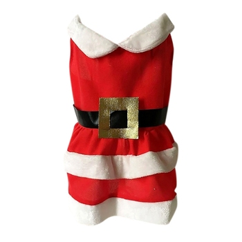 Pet Lovely Festival Costume Christmas Santa Clothes For Dog Girls, Red Warm Dress For Small And Medium Dogs image