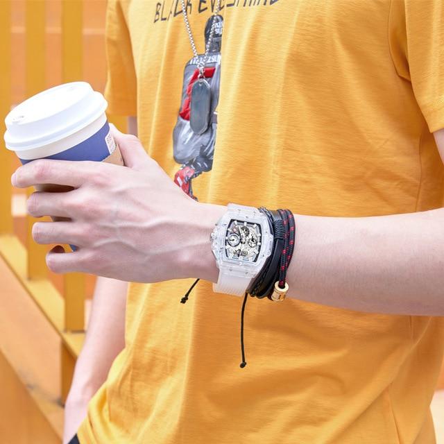 Onola brand fashion sports watch men 2021 transparent plastic unisex quartz mens watches white designer luxury relogio masculino