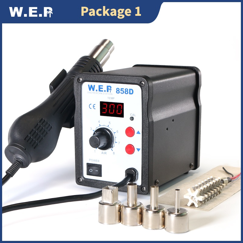 WEP 858D Hot Air Gun Soldering Station SMD Solder Station Temperature 500 Digital Display Desoldering Station BGA Rework Station
