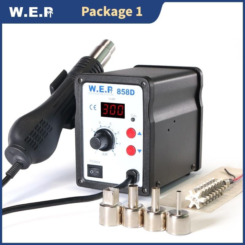 WEP 858D Hot Air Gun Soldering Station SMD Solder Station Temperature 500 Digital Display Desoldering Station BGA Rework Station