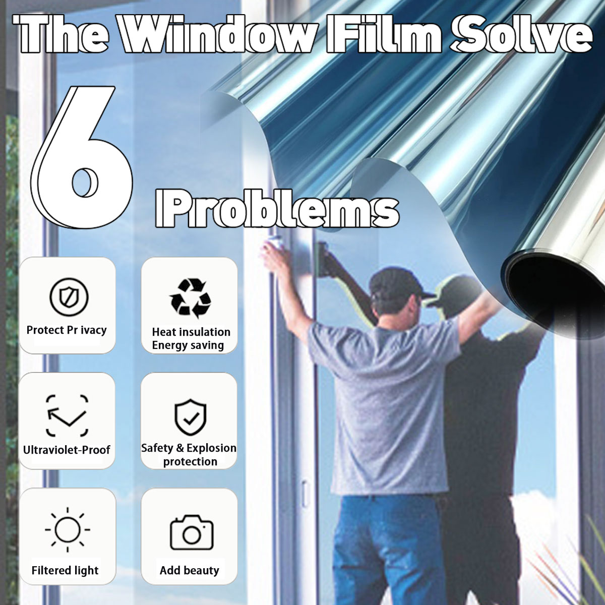 30/40/50/60/70x400CM One Way Mirror Window Film Vinyl Self-adhesive Reflective Solar Film Privacy Window Tint Stickers For Home