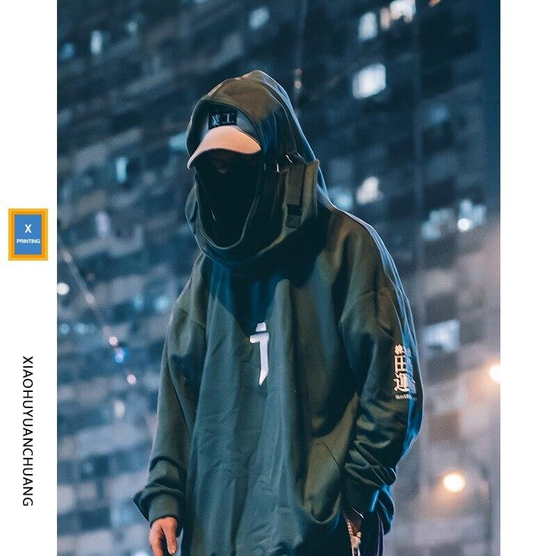 High Neck Fish Mouth Pullover Japanese Sweatshirts Men/Women Hoodies Oversize Streetwear Hip Hop Harajuku Male Tops