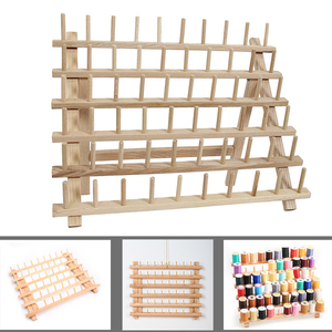 Image 1 - Wooden Sewing thread spool holder Tool Thread Rack Wooden Organizer Sewing 60 spool Thread Holder Frame