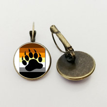 NEW Bear Pride Ying Yang with Paw Gay Pride Photo Charm earrings Handmade Glass Dome Gay earrings Jewelry(China)