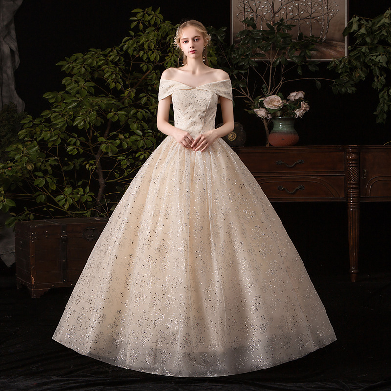 Mrs Win Wedding Dress 2020 New Sexy V-neck Champagne Ball Gown Off The Shoulder Princess Vintage Bling Bling Wedding Dresse G52