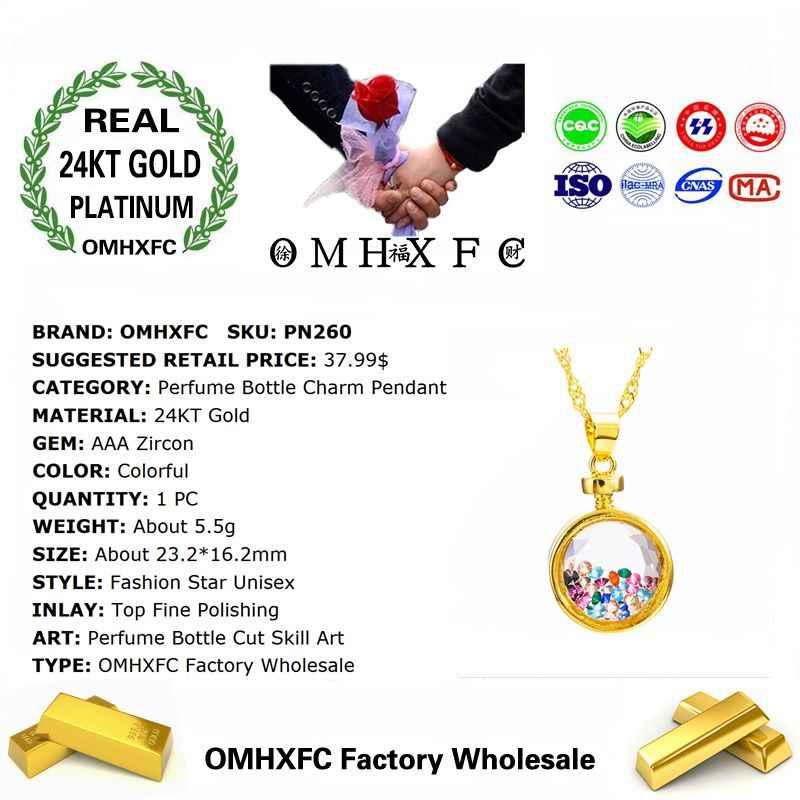 OMHXFC 卸売ヨーロッパファッション女性男性ユニセックスパーティー誕生日ギフト香水瓶ジルコン 24KT リアルゴールドチャームペンダント PN260