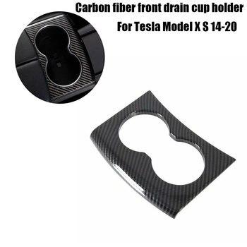 Für Tesla Model S/X 2014-2020 Carbon Fiber Hinten Wasser Tasse Halter Rahmen Trim