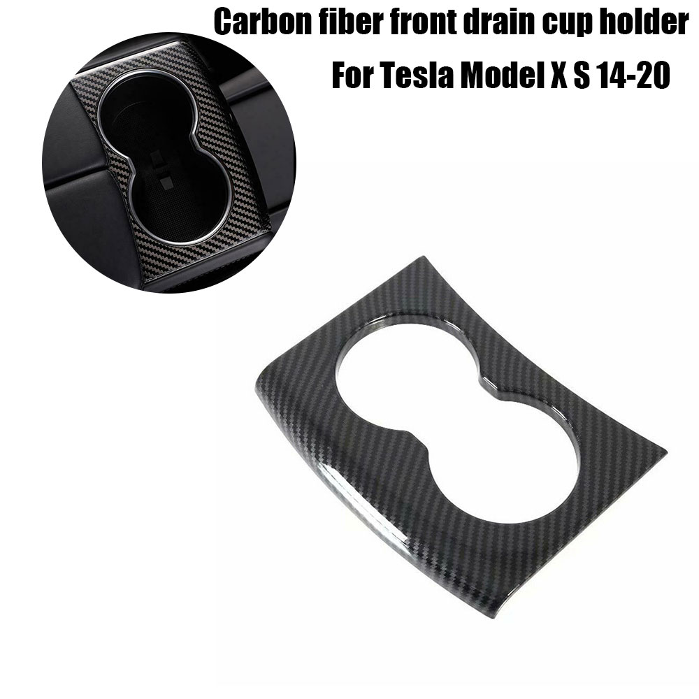 For Tesla Model S/X 2014-2020 Carbon Fiber Rear Water Cup Holder Frame Trim