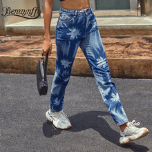 Benuynffy High Waist Jeans 2020 Autumn Winter Retro Casual P