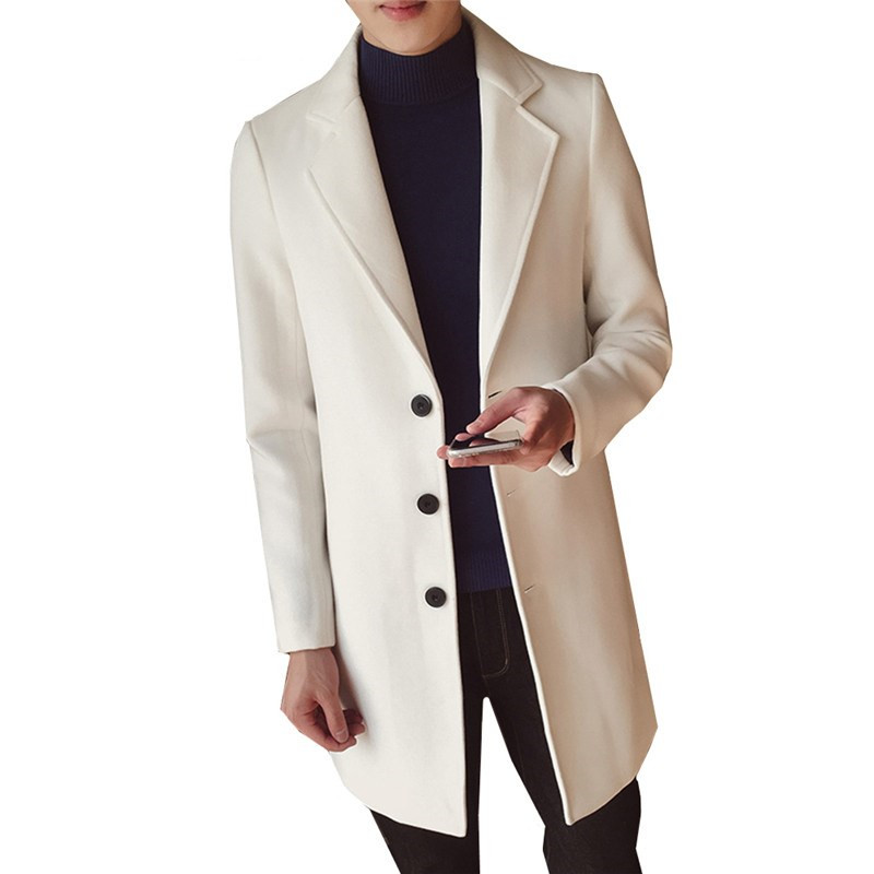 New Fashion Classic Men's Windbreaker Jacket Solid Color Single-breasted Slim Long Woolen Coat 5XL Large Size Men's Jacket