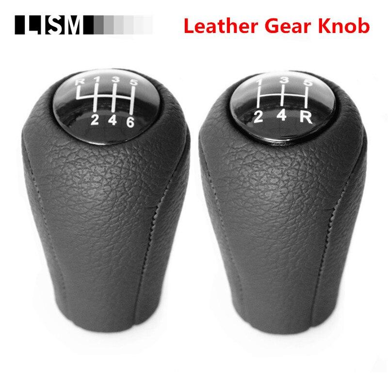 עור 5/6-מהירות Gear Shift Knob עבור מאזדה 3 BK BL 5 CR CW 6 II GH CX-7 אה MX-5 NC III 23 MT עור שיפטר מנוף זרוע Headball