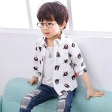 Linen Shirt Tops Spring-Clothing Long-Sleeve Boys Children Cartoon for 2-9yrs