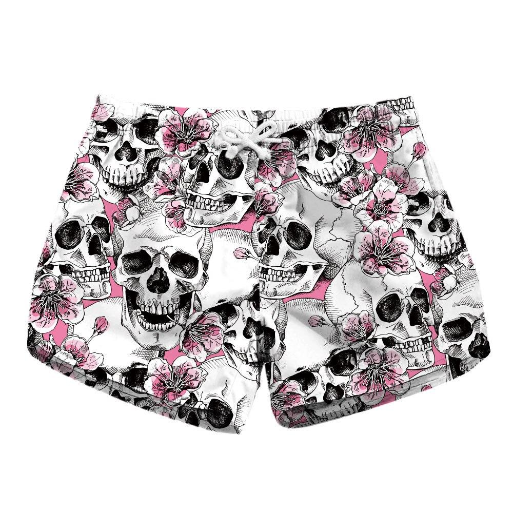 Digital Printing Women's Quick-dry Shorts Skull Print Two-side Pocket Casual Shorts