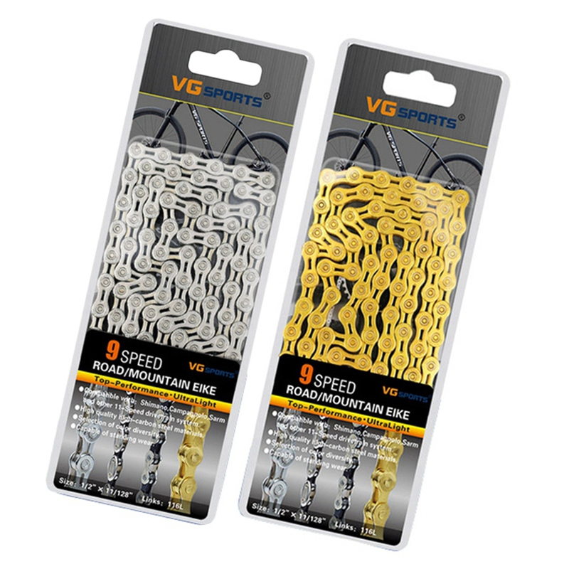 Vg Sports 2 Pcs Ultralight 9 Speed Bicycle Chain Bike Chain Half Full Hollow 116L Mountain Mtb Road Bike Chains   Gold & Silver|Bicycle Chain| |  - title=