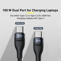 Baseus 5A USB C Cable for Samsung S20 Cable 2in1 PD 100W QC 4. Fast Charging USB Type C Cable for Xiaomi mi 10 Pro Macbook iPad