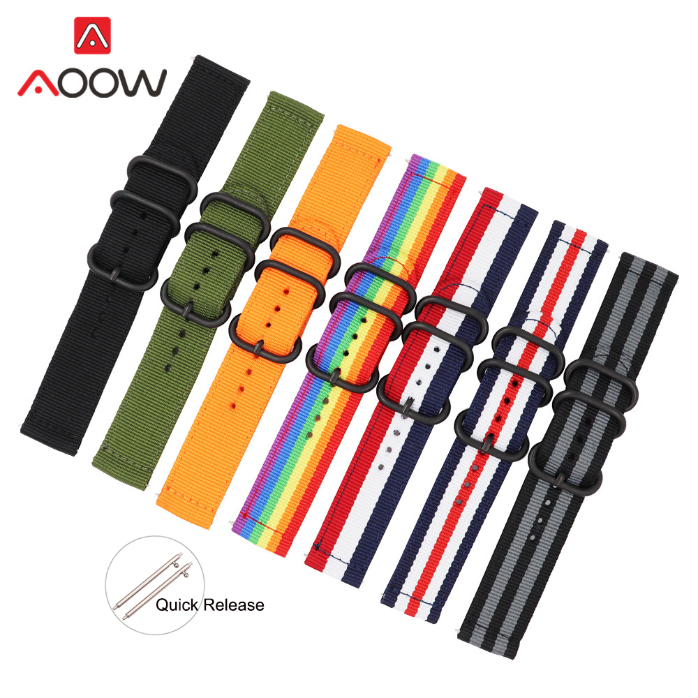 TEAROKE NATO Watchband Nylon Strap Black Ring Buckle 18mm 20mm 22mm 24mm Striped Replacement Watch Band for Samsung S3 Huawei(China)