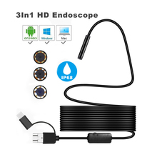 8mm 3 In 1 Endoscope Camera 1200P HD USB Endoscope with 8 LED 2/3.5/5/10M Cable Waterproof Inspection Borescope for Android PC new 1 1 5 2 3 5m 5 5mm 6 led waterproof android endoscope borescope snake inspection video camera for android for pc