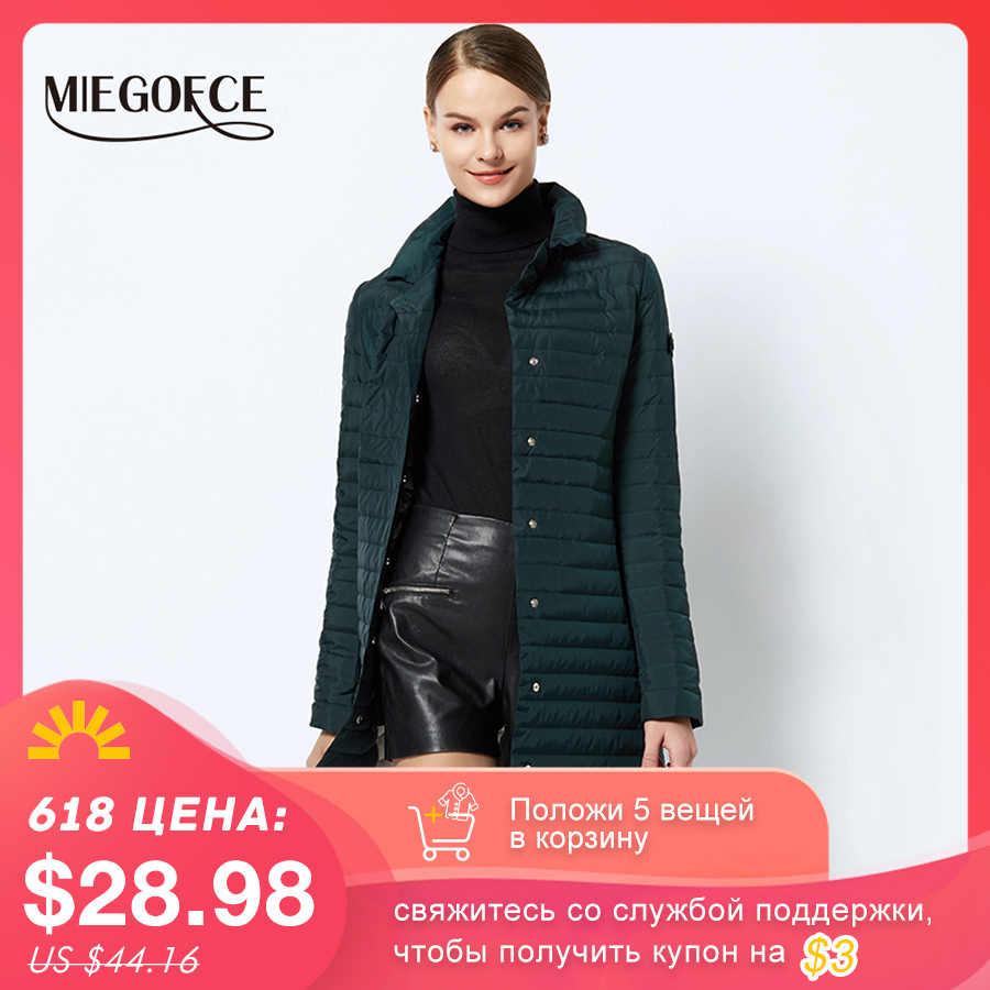 MIEGOFCE 2020 ผู้หญิงฝ้ายเบาะแจ็คเก็ตบางผู้หญิง Quilted Parkas ยาวฤดูใบไม้ผลิ Windproof ผู้หญิงฤดูใบไม้ผลิเสื้อแจ็คเก็ตออกแบบใหม่