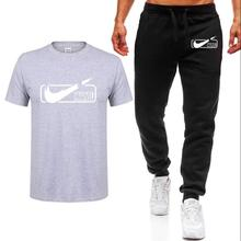 Hot Sale Summer Mens Sets T Shirts+pants Two Pieces Casual Tracksuit Male 2019 Tshirt Gyms Fitness trousers men