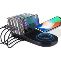 PD Fast Charge 4 Ports Charger Desktop Phone Holder Smart Charging Station With Wireless Charger for Mobile Phone Tablet