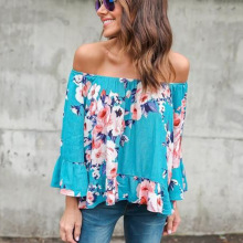 цена на Off The Shoulder Floral Chiffon Blouse Flare Sleeve Casual Boho Blouse Sexy Blusas Mujer