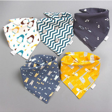 Baby Bibs Feeding-Apron Saliva-Towel Triangle Baby-Boys-Girls Cotton Print Cartoon 5pieces/Lot