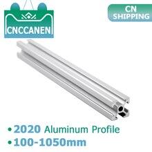 2020 אלומיניום פרופיל 6mm T חריץ 2020 אלומיניום שחול Anodized 100 200 300 400 500 600 800 1000mm CNC 3D מדפסת חלקי 1m