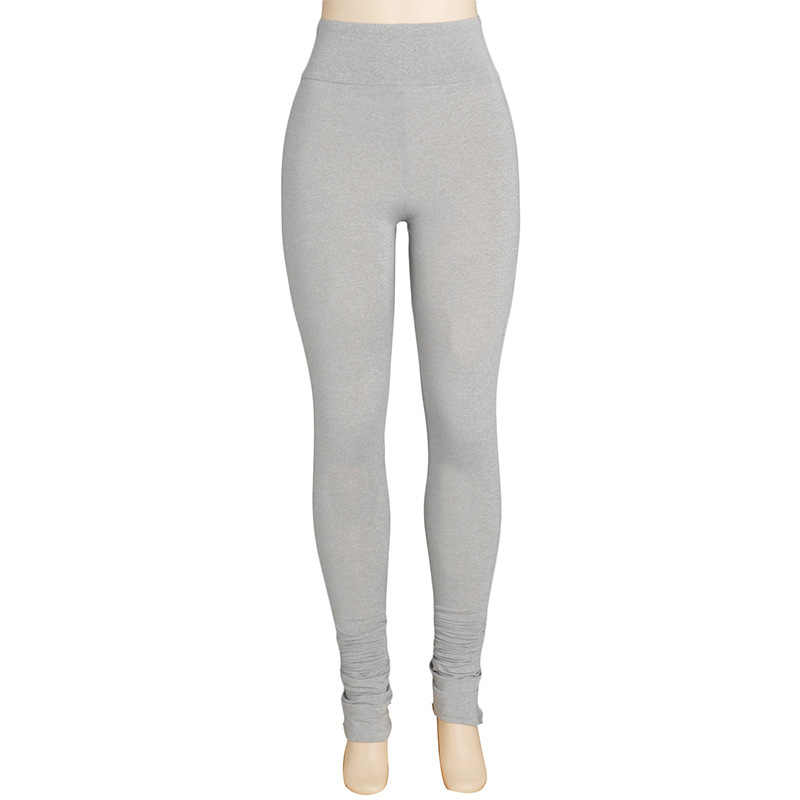 Ha87cb88f92ca4ac5b1ba0aa79cdcf72eL Autumn Solid Color High Waist Stacked Leggings Pants for Women Skinny Trousers Sweatpants Sexy Draped Ruched Pants Streetwear