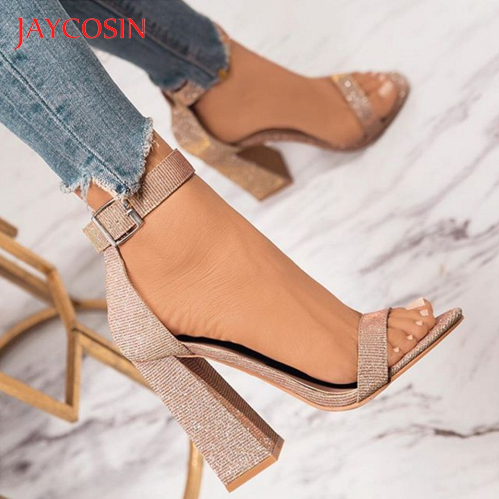 JAYCOSIN Pure Color Breathable Open-Toed Sandals Slippers Women Shoes Woman Gladiator  Summer Shoes tacones Heels Party Plus 42 1