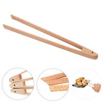 Wooden Food Toast Tongs Kitchen Gadgets BBQ Grilling Tong Salad Bread Serving Tong Dessert Sugar Ice Clip Cooking Baking Tools