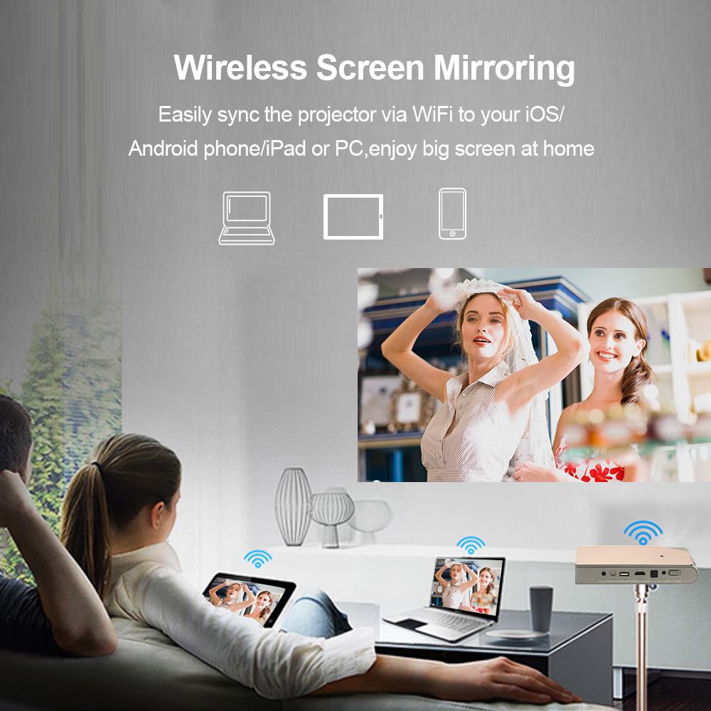 Image 3 - CAIWEI S7+ Mini Portable DLP Projector 3D Cinema Home Theater Outdoor Video Movie for Smartphone Data Show Beamer Large BattryLCD Projectors   -