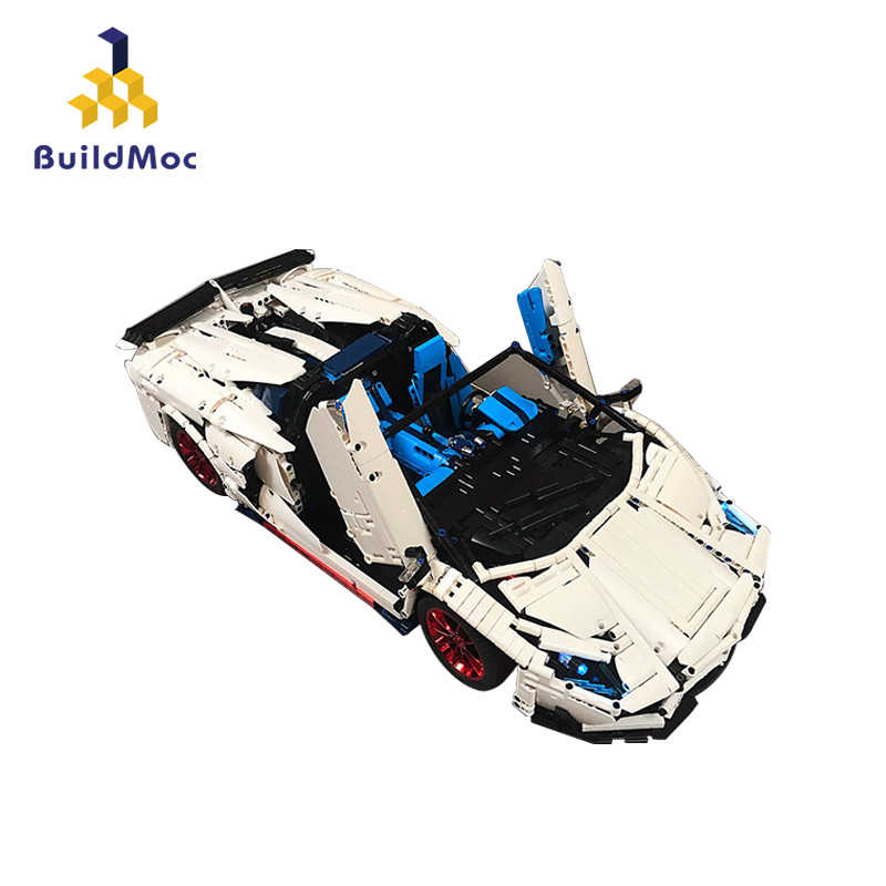 BuildMOC Veneno Lamborghinis чжущий SVJ Roadster Функциональный автомобиль, строительные блоки, кирпичи для детей, высокотехнологичные игрушки 20091 MOC 17698