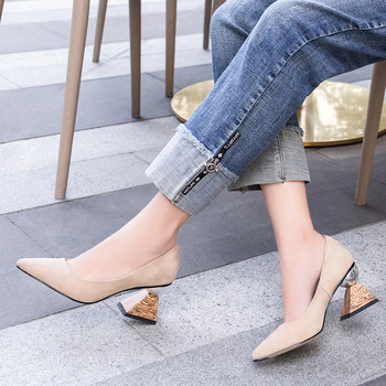 Doratasia 2020 Dropship Brand Design Hoof High Heels Pointed Toe Kid Suede Leather Pumps Woman Shoes Women
