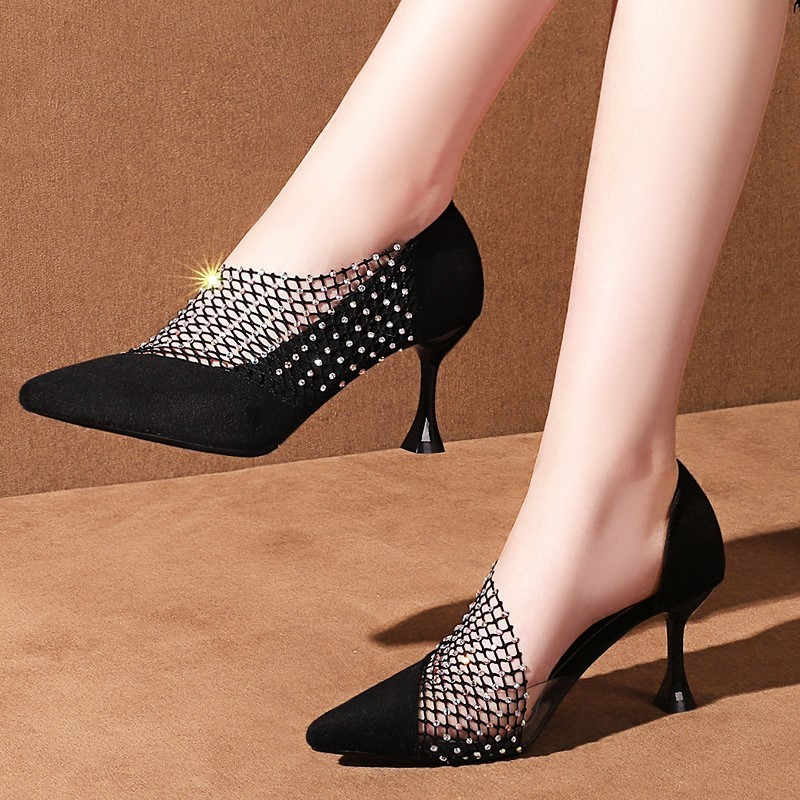 Women Pumps Wedding Shoes Thin <font><b>High</b></font> <font><b>Heels</b></font> <font><b>Platform</b></font> Ladies <font><b>Sandals</b></font> <font><b>Sexy</b></font> Crystal Pointed Toe Female Party Summer Zapatos De Mujer image