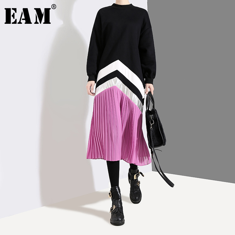[EAM] Women Black Striped Split Pleated Big Size Dress New Stand Collar Long Sleeve Loose Fit Fashion Spring Autumn 2020 1T433