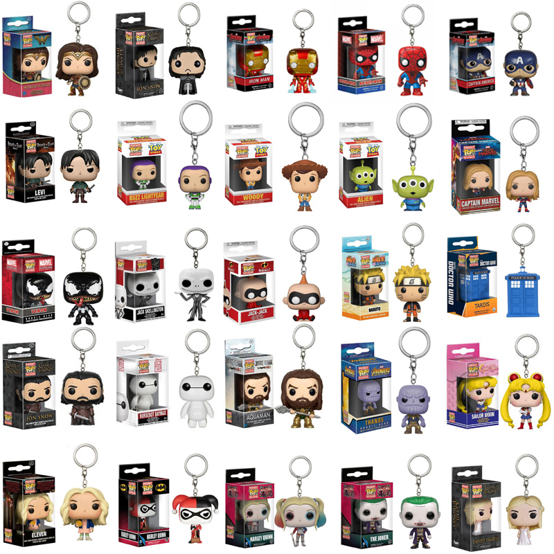 FUNKO POP Marvel Hulkbuster Keychain SpiderMan Captain Game of Thrones Action Figure Thor Toy PVC Model Doll for Birthday Gift