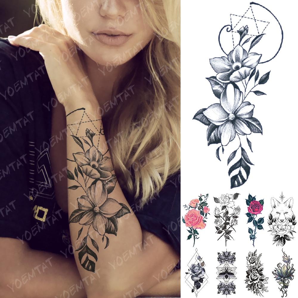 Waterproof Temporary Tattoo Sticker Geometric Line Lily Flower Flash Tattoos Rose Fox Lotus Body Art Arm Fake Tatoo Women Men